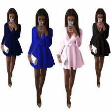 Sexy Womens Plunge V Neck Flared Swing Dress Party Clubwear Short Skater Dress