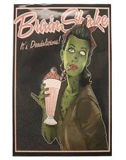 Too Fast Brainshake Poster Zombie Rockabilly Goth Punk Psychobilly Tattoo Retro
