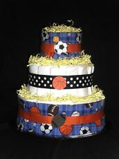 Blue & Yellow Sports Diapercake (Football Baseball Soccer)