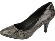 "Ladies Spot On Grey Snake Print Court Shoes with 3"" Heel Style F9731"