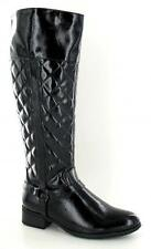 Ladies Spot On Black Patent Quilted Riding Knee High Boots Style F50192