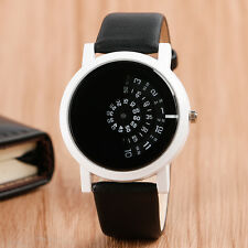 Simple Leather Strap Turntable Round Dial Sport Men Women Dress Wrist Watch Gift