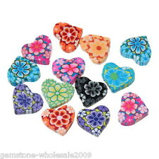 Wholesale W09 Mixed Polymer Clay Flower Heart Charm Beads 15mm x13mm