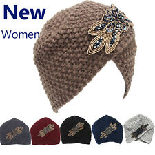Women's Lady Beret Braided Baggy Beanie Crochet Warm Winter Hat Ski Cap Wool DF