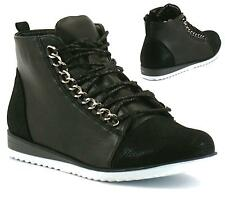 Womens Hi Tops Wedges Heels Trainers Ladies Lace Up Ankle Strap Pumps Shoes Size