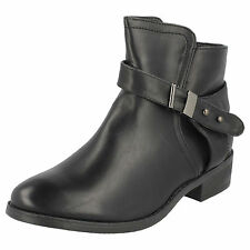 Ladies Spot On Black Anke Boots with Buckle Strap Detail Style F50328