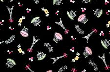 FQ/Y Vintage French Style Eiffel Tower & Balloon on Black 100% Cotton Fabric
