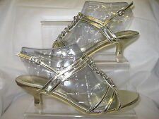 Ladies Spot On Gold Metallic Strappy Sandals with Diamante T-Bar F1723