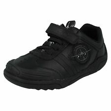 Boys Clarks Black Leather School Shoes with Flashing Lights Style WING LITE INF