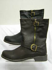 Ladies Spot On Zip Up Mid Calf Boots with Buckles & Zip Detail F50073