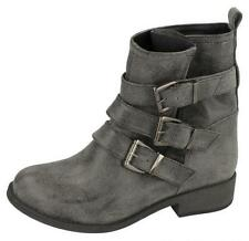 Ladies Spot On Black Distressed Pull On Ankle Boots Style F50319