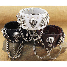 Cool Skull Bullet Chain Men's Surfer PU Leather Bracelet Wristband Bangle Cuff