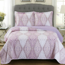 Oversized Reversible Jewel Bedspread Set, Modern 3-Piece Quilt & Matching Shams