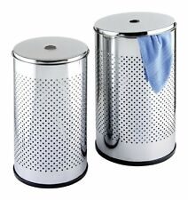 Wenko 15236100 Chrome Exclusive Laundry Bin Set, 2-Piece, 37/ 54 Litre