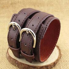 Gothic Mens Women Belt Buckle PU Leather Cuff Bracelet Bangle Wristband Jewelry