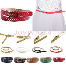 Womens Jeans Dress Colorful Hollow Thin Skinny Waistbands PU Leather Waist Belts