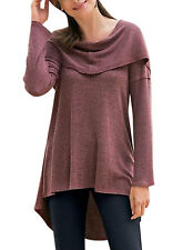 Women Long Sleeve Round Neck Blouse Asymmetric Hem Tunic Tops Loose Basic Shirt