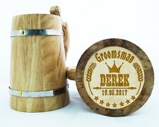 Wooden Beer Mug Personalized Groomsmen Gift Best Man Wood Beer Mugs Engraved K29