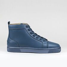 Auth Christian Louboutin Mens Louis Flat Poisedon Calf Leather Classic Sneakers