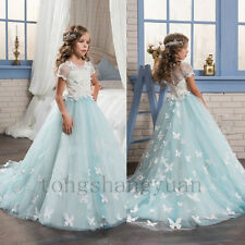 Flower Girl Dresses Handmade Flower Birthday Party Formal Gowns Pageant 2017 New