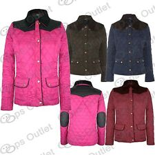 Womens Ladies Padded Quilted Diamond Shoulder PVC Patch Elbow Jacket Coat 8-14