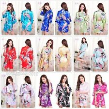 Long/Short Women Silk Satin Robes Bridal Wedding Bridesmaid Bride Gown kimono