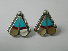 Zuni Sterling Silver Earrings by April Unkestine Native American Turquoise