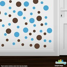 Chocolate Brown / Ice Blue Polka Dot Circles Wall Decals