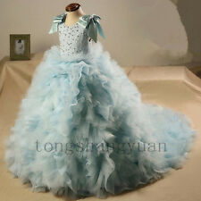 Beads Ruffles Flower Girl Dress Princess Birthday Formal Prom Gowns Pageant 2017