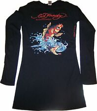 Ed Hardy Women's Koi Fish Skull Tattoo Black Long Sleeves T-Shirt New