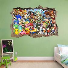 Super Smash Bros Mario Smashed Wall Decal Graphic Wall Sticker Art Mural H826