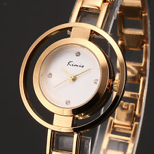 Kimio Fashion Crystal Lady Women Gold Alloy Bracelet Silm Wrist Quartz Watch