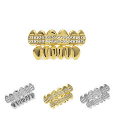 Hip Hop Teeth Two Row Mouth Grillz Caps Top & Bottom Grill Set Vampire Teeth New