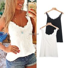 New Women Fashion V-Neck Sleeveless Casual Lace Spaghetti Strap Tank Top WST