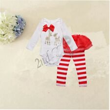 2PC Newborn Infant Kids Baby Girls Romper T-shirt Tops+ Pants Outfit Clothes Set