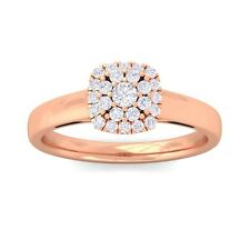 0.28ct IJ SI Round Sparkling Cluster Diamond Ring Women Solid 10K Gold