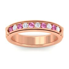 Pink Sapphire IJ SI Fine Diamonds Half Eternity Womens Band 10K Gold