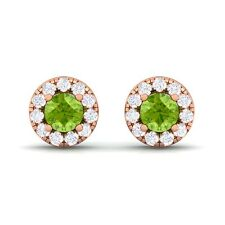 Green Peridot IJ SI Diamond Gemstone Womens Halo Stud Earring 10K Gold