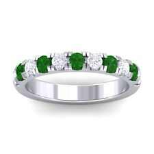 Green Emerald IJ SI Diamonds Half Eternity Wedding Band Women 14K Gold