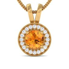 Orange Citrine IJ SI Diamond Round Halo Gemstone Pendant Women 18K Gold