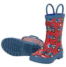 NEW Pull On Kids Rubber Wellies Rain Boots Gumboots Farm Tractors on Red