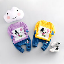 2PCS Toddler Kids Baby boy Girl Mickey T shirt tops+pants kid Spring Clothes set