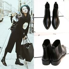 Womens Leather Shoes Flat Chelsea Ankle  Boots Slim Elasitc Slip on Pointed Toe