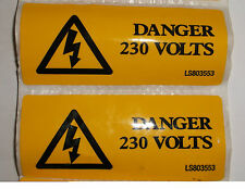 2 x Yellow Self Adhesive label DANGER 230 VOLTS 80mm x 35mm