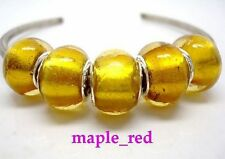 Fashion Pure Foil Gold European Style Lampwork Glass Beads fit Charm Bracelet