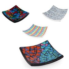 Rainbow Mosaic Ceramic Glass Votive Tealight Candle Holder Plate Blue Tray Dish