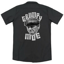 Three Stooges Grumpy Moe (Back Print) Mens Work Shirt BLACK