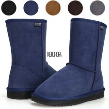 New Womens Winter Warm Snow Boots Thicken Faux Fur Suede Flat Shoes 6 Sizes KECP