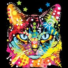 Rainbow Neon Kitty Cat with Blue Eyes T-Shirt Black Light Pet Tee Adult & Youth