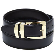 Reversible Belt Bonded Leather with Removable Gold-Tone Buckle BLACK / Charcoal